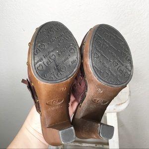 Vintage Shoes - 90s Wood Vegan Suede Leather Platform Clog Heels